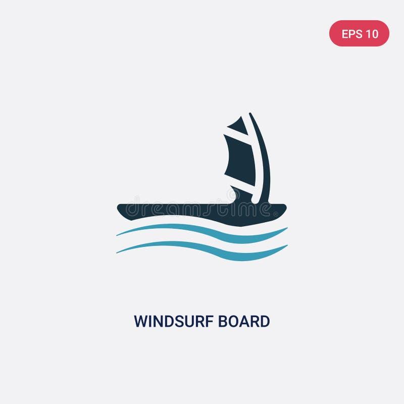De duas cores windsurf o ícone do vetor da placa do conceito náutico o azul isolado windsurf placa o símbolo do sinal que do veto ilustração do vetor