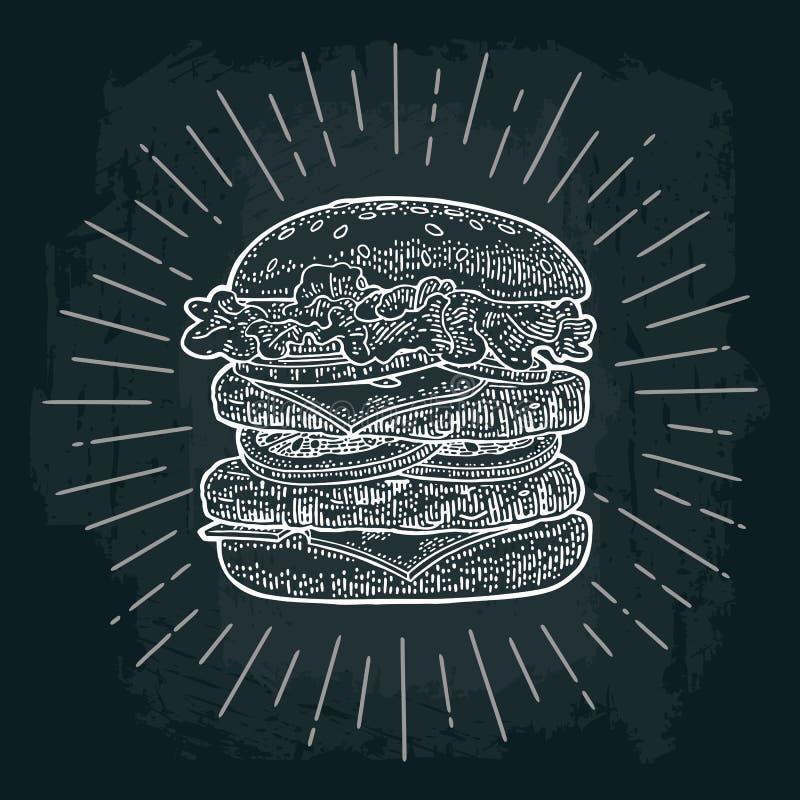 De dubbele hamburger omvat kotelet, tomaat, komkommer en salade met stralen vector illustratie