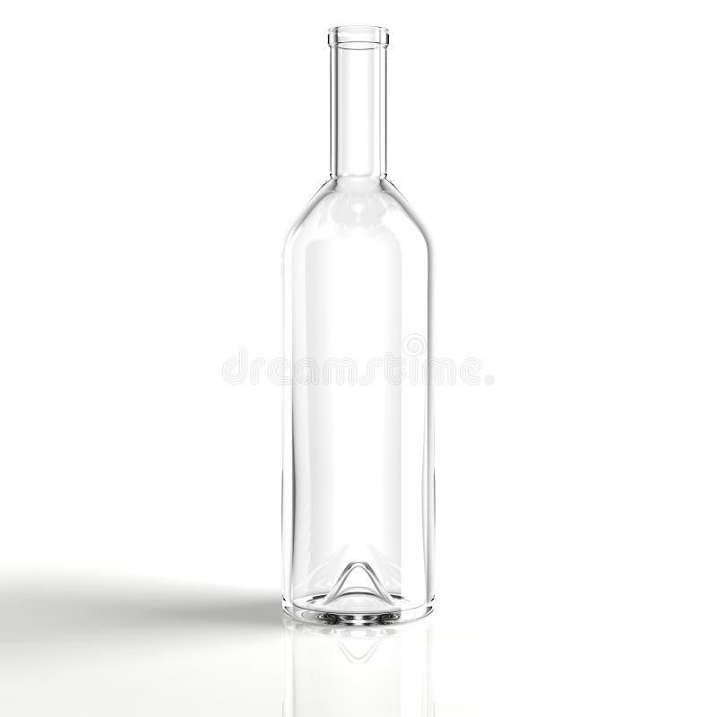 De duidelijke fles van de glaswijn royalty-vrije illustratie