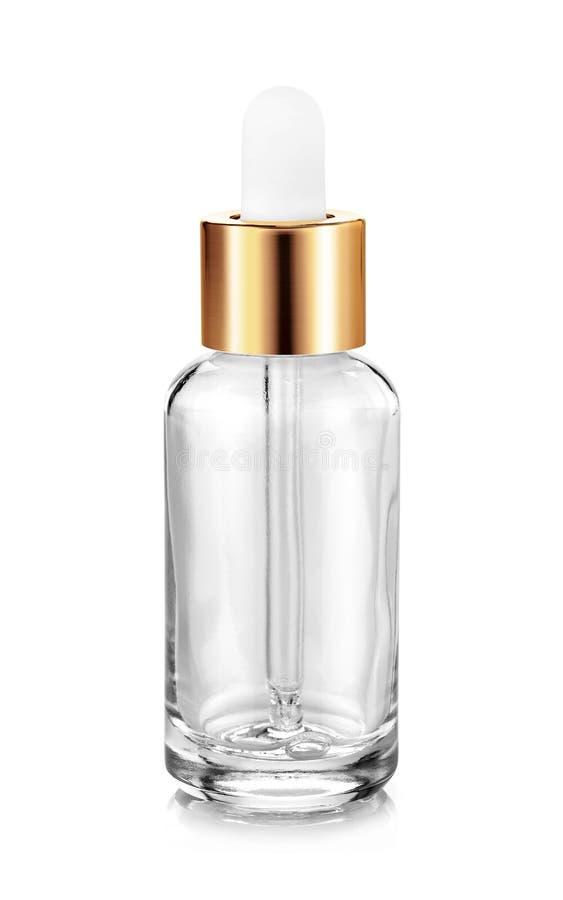 De duidelijke fles van het glasserum voor het prototype van het cosmetischee productenontwerp stock foto