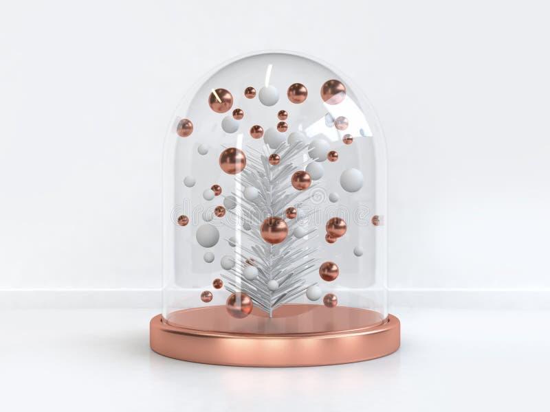 De duidelijke glaskruik vele witte 3d boom van het bladkerstmis van het kopergebied geeft terug vector illustratie