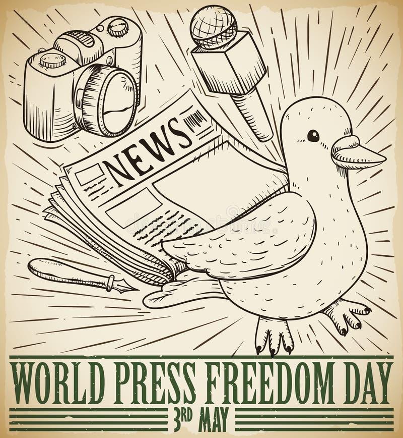 De duif en de Massamedia trekken voor de Dagviering van de Persvrijheid, Vectorillustratie vector illustratie