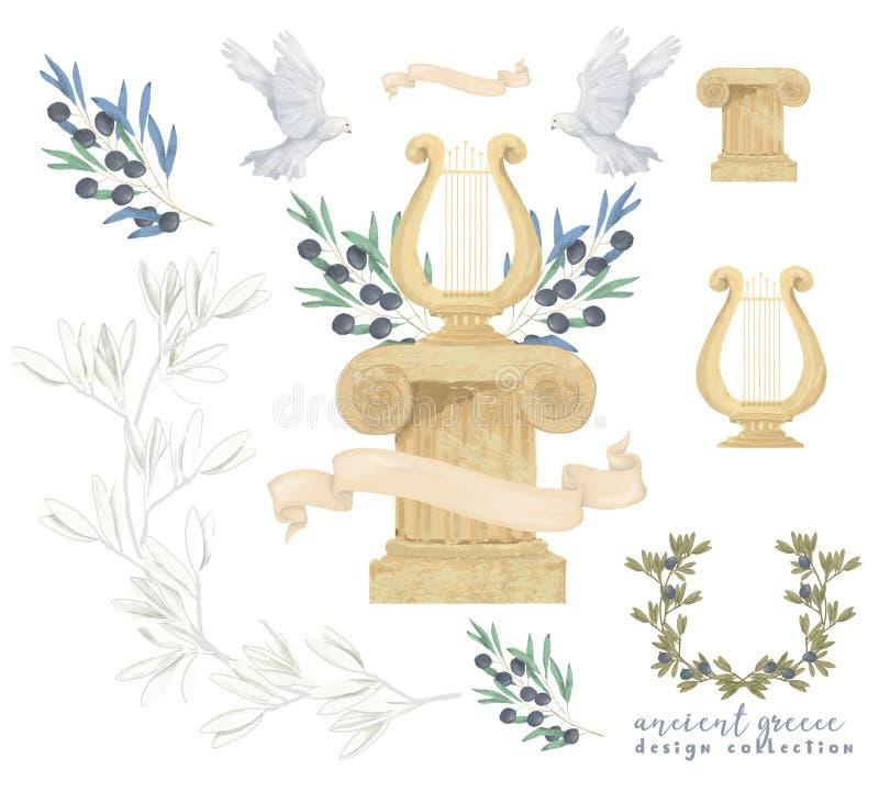 De duif en vogel van de de tekeningswaterverf van de olijf de Antieke Post vastgestelde illustratie digitale vliegen vredesduif,  stock illustratie