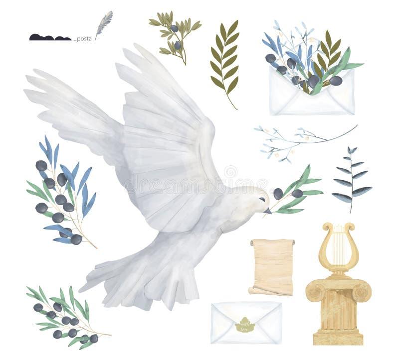 De duif en vogel van de de tekeningswaterverf van de olijf de Antieke Post vastgestelde illustratie digitale vliegen vredesduif v vector illustratie