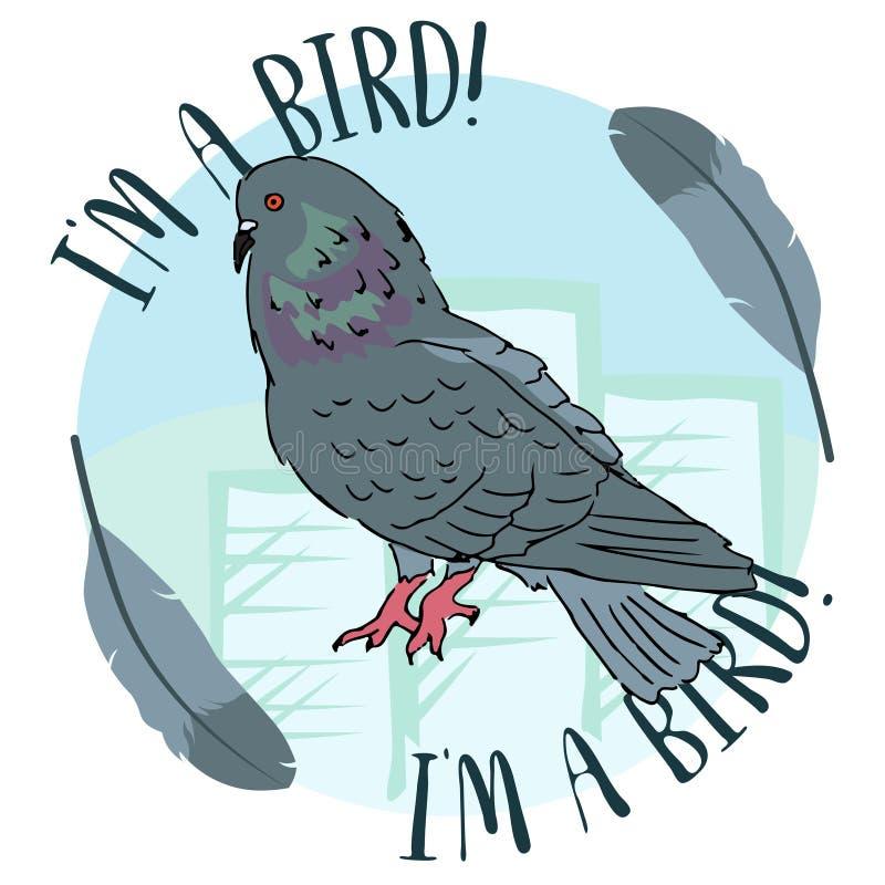 De duifvogel van de stads stedelijke straat op blauwe cirkelachtergrond met veer editable vectorillustratie stock illustratie