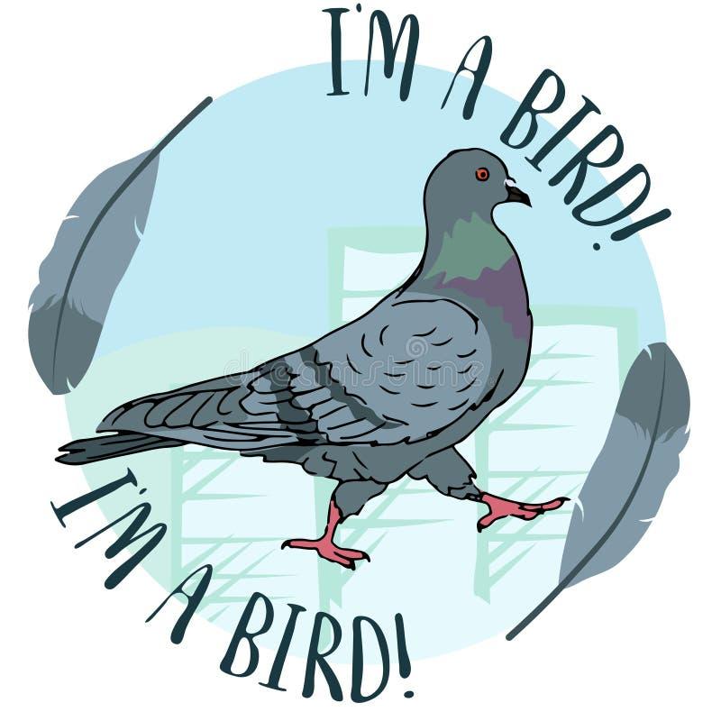 De duifvogel van de stads stedelijke straat op blauwe cirkelachtergrond met veer editable vectorillustratie vector illustratie