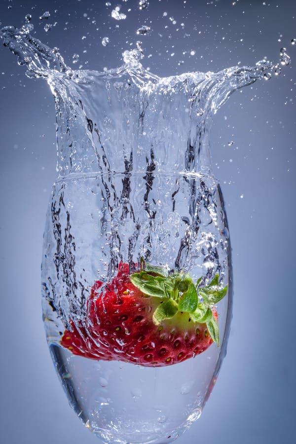 De duik van de aardbeiplons in water in een wijnglas royalty-vrije stock foto