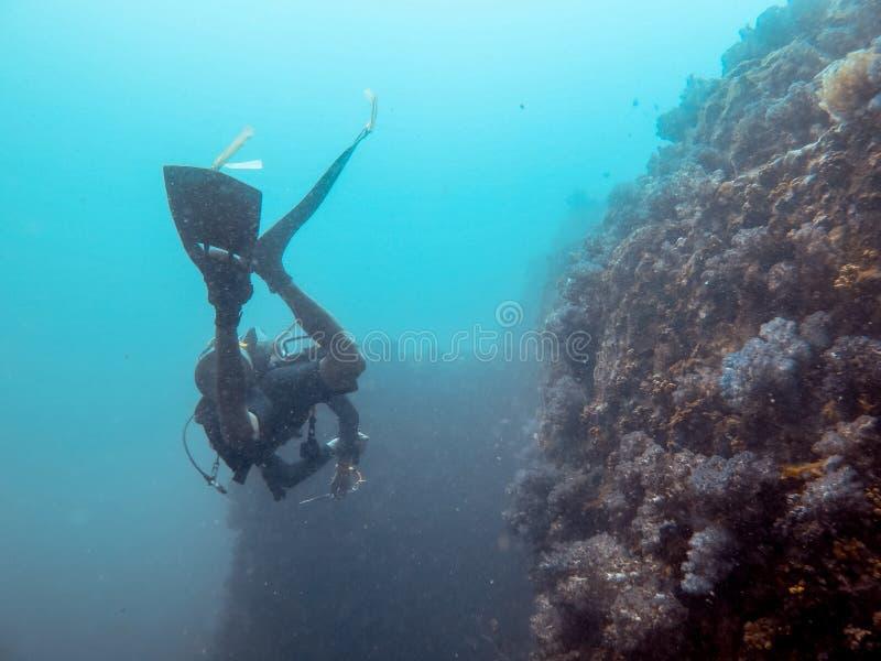 De duiker duikt in het overzees, Myanmar stock fotografie
