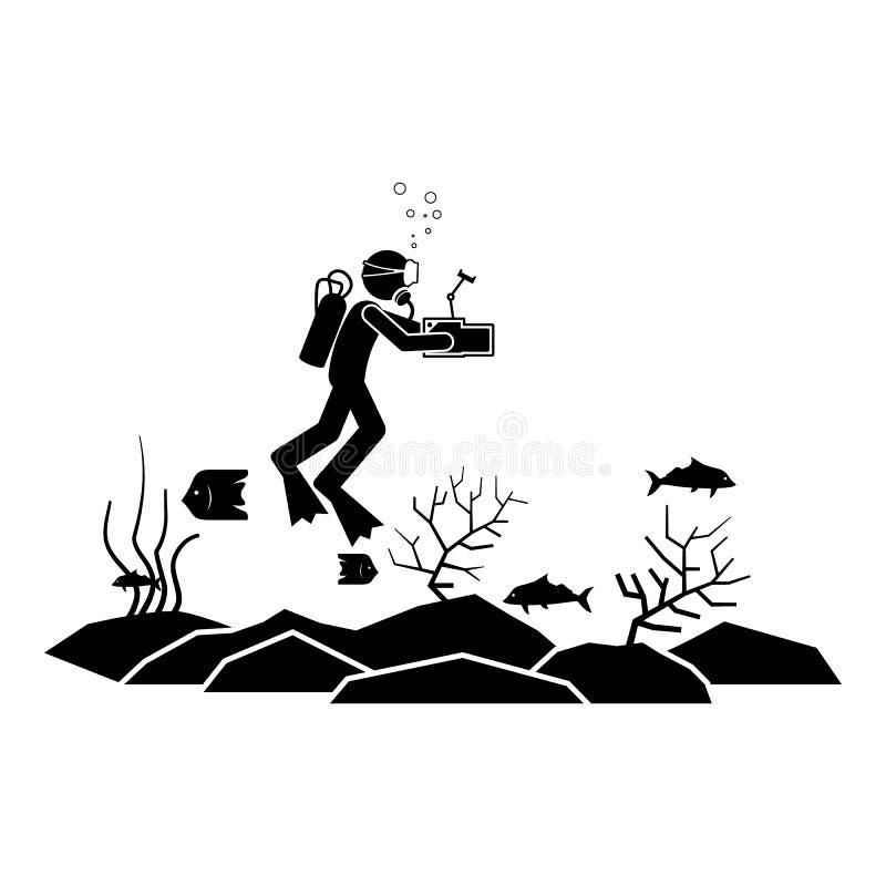De duikervideo trekt pictogram Element van het duiken pictogram voor mobiel concept en Web apps De video van de pictogramduiker t royalty-vrije illustratie