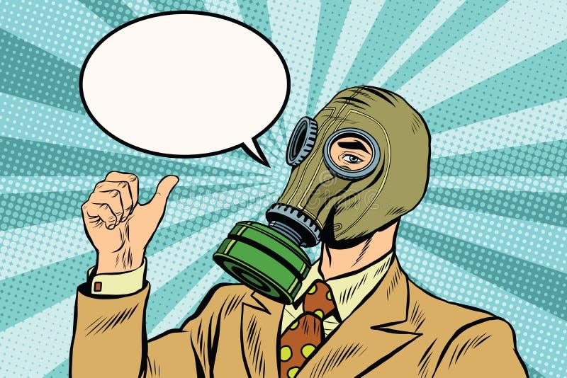 De duim van de gasmaskermens omhoog royalty-vrije illustratie