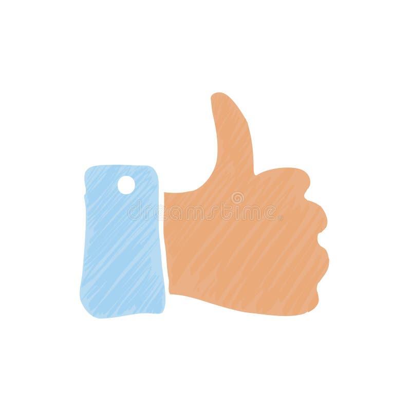 De duim van de hand omhoog stock illustratie