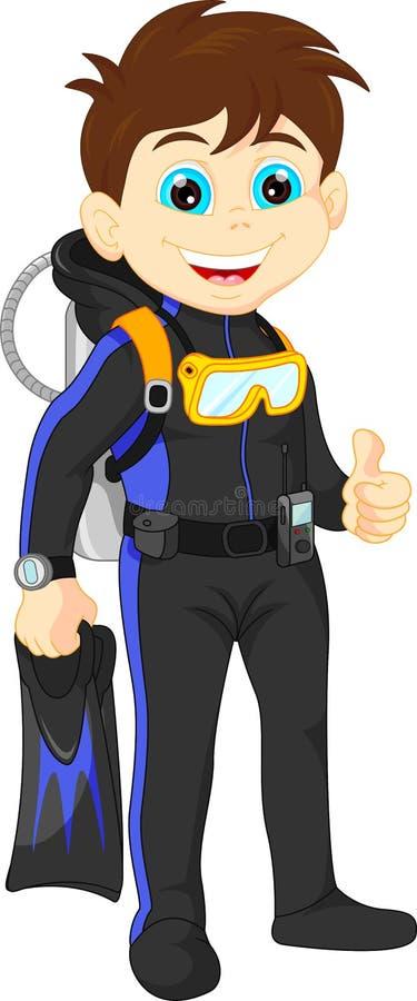 De duim van de scuba-duikerjongen omhoog vector illustratie