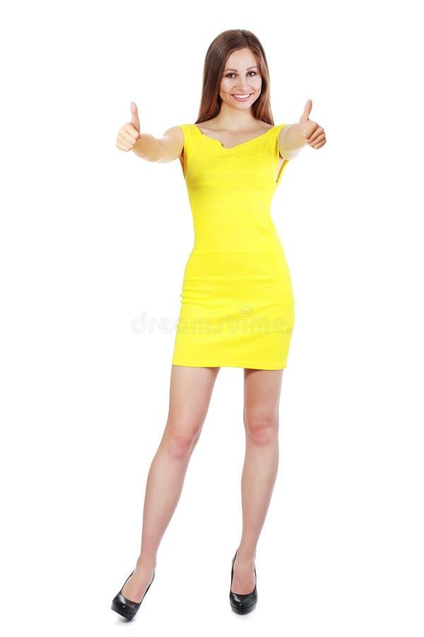 De duim van de vrouw omhoog royalty-vrije stock foto