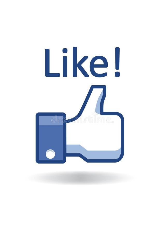 De duim van Facebook als! stock illustratie