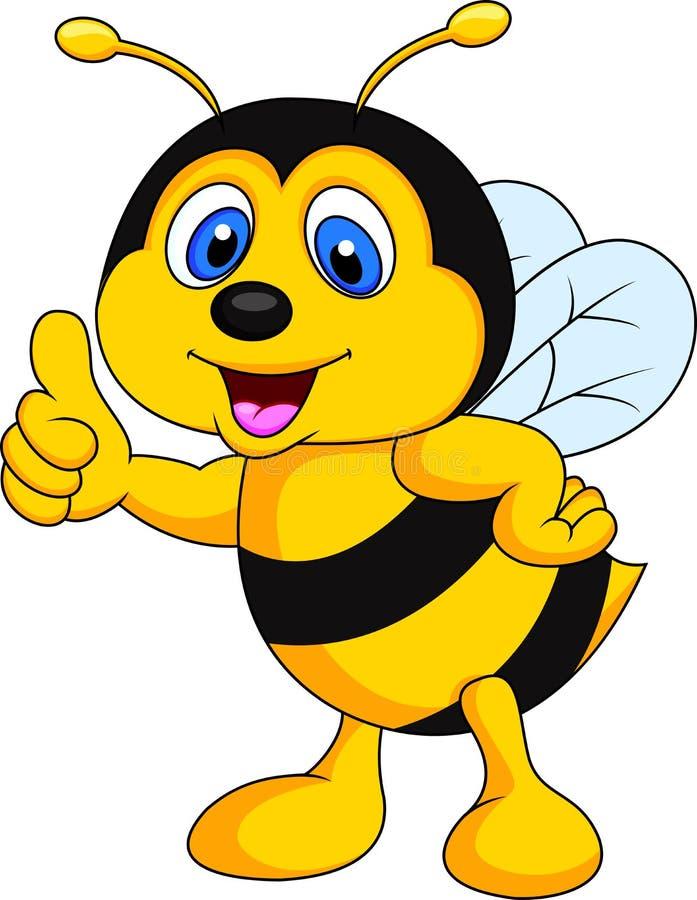 De duim van het bijenbeeldverhaal omhoog stock illustratie