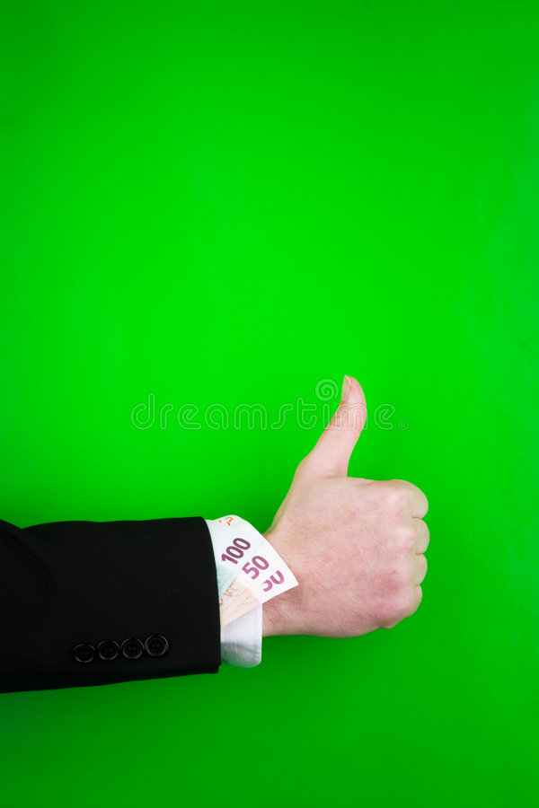 De duimen ondertekenen omhoog en geld stock fotografie