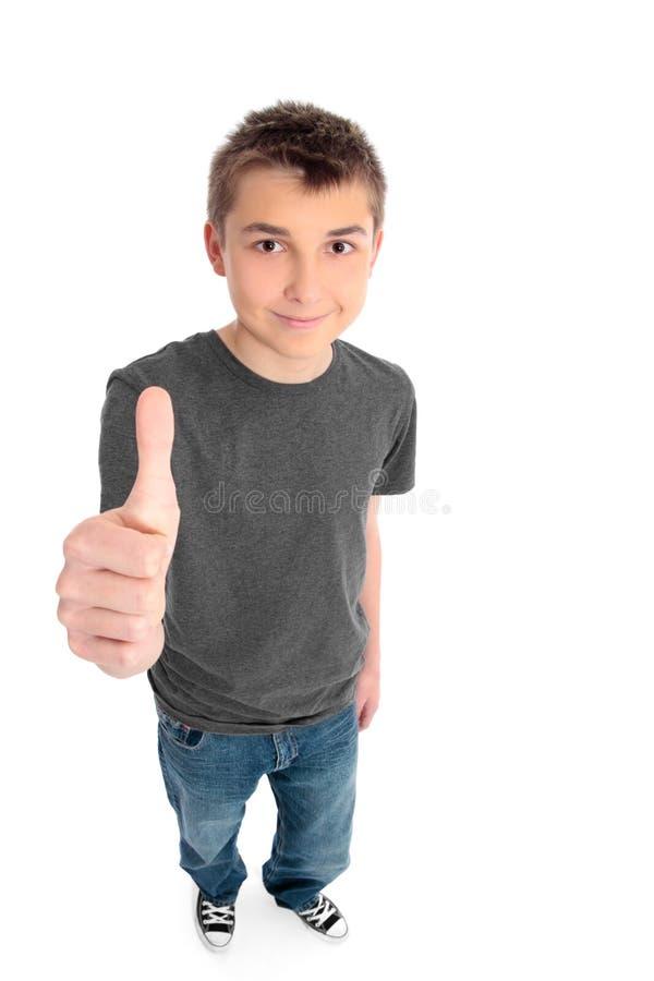 De duimen van de jongen ondertekenen omhoog stock afbeeldingen