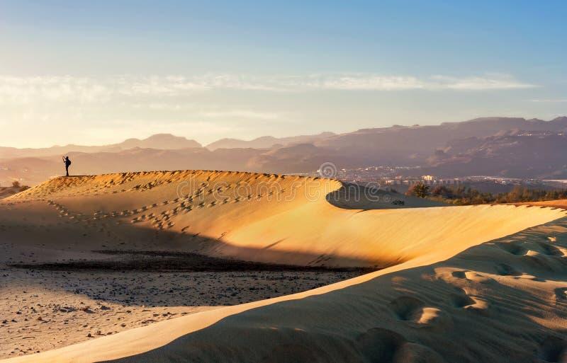 De duinen van het Maspalomaszand Gran Canaria, Canarische Eilanden, Spanje stock afbeelding