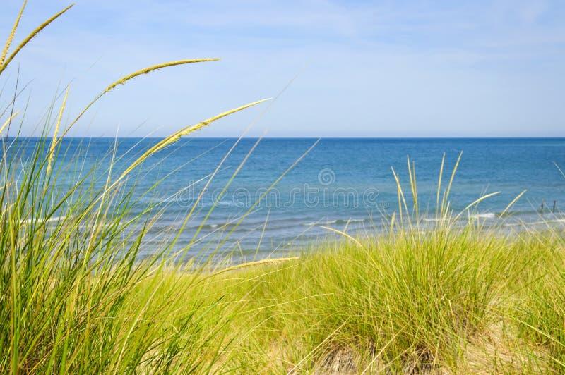 De duinen van het zand bij strand stock fotografie