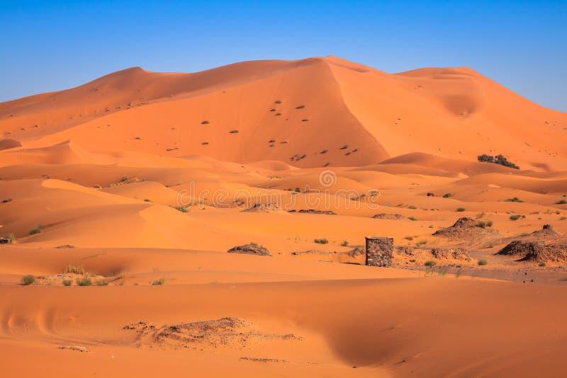 De Duinen van het zand van Erg Chebbi int stock fotografie