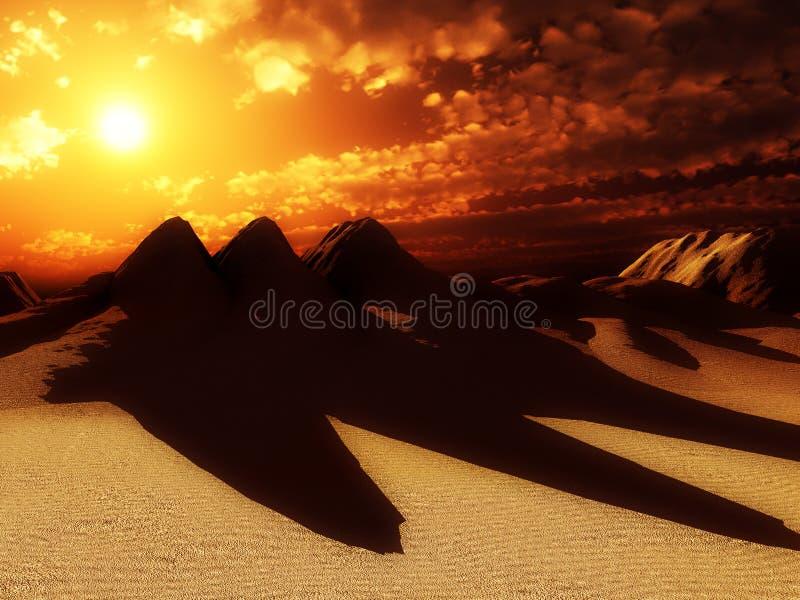De Duinen van het zand met Zon 6 stock illustratie