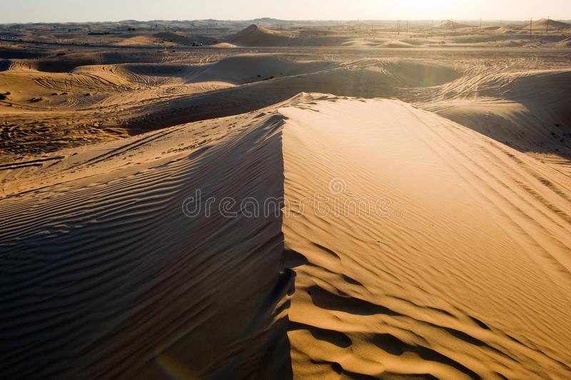 De duinen van het zand in woestijn royalty-vrije stock foto