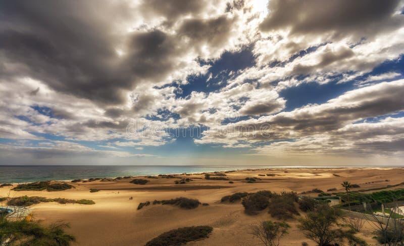 De duinen van Maspalomas op Gran Canaria royalty-vrije stock afbeelding