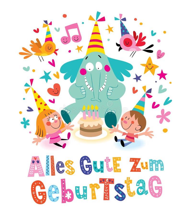 De Duitse Gelukkige Verjaardag Van Allesgute Zum