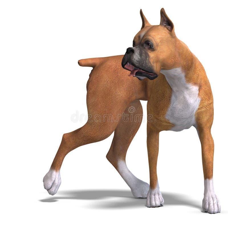 De Duitse Hond van de Bokser. het 3D teruggeven met het knippen van weg royalty-vrije illustratie