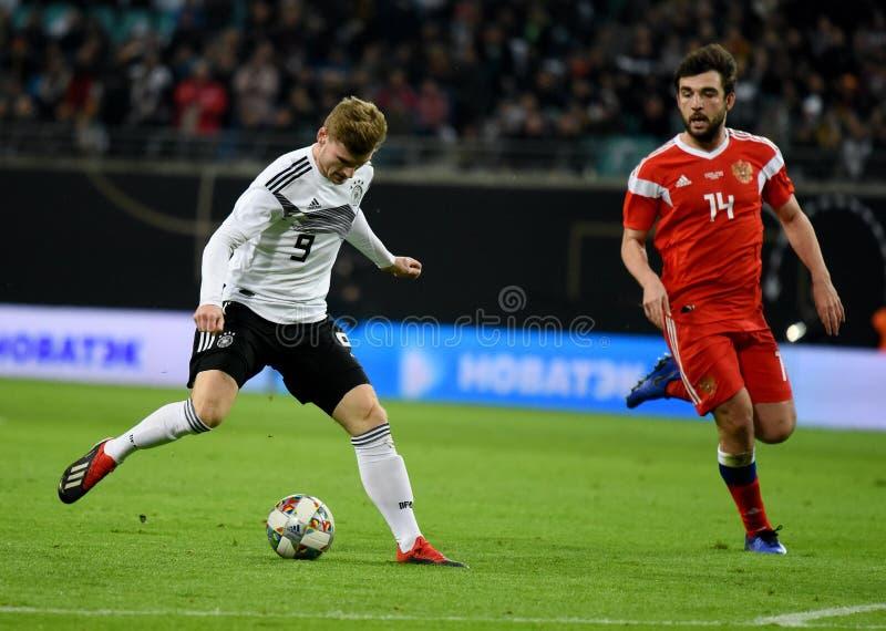 De Duitse nationale striker Timo Werner van het voetbalteam tegen Rusland stock foto's