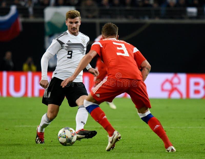 De Duitse nationale striker Timo Werner van het voetbalteam tegen Rusland royalty-vrije stock fotografie