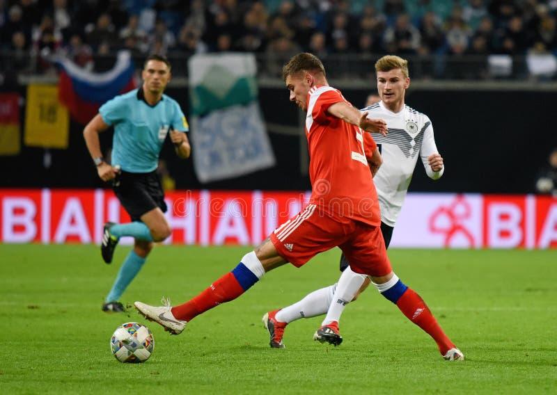 De Duitse nationale striker Timo Werner van het voetbalteam tegen Rusland stock afbeelding
