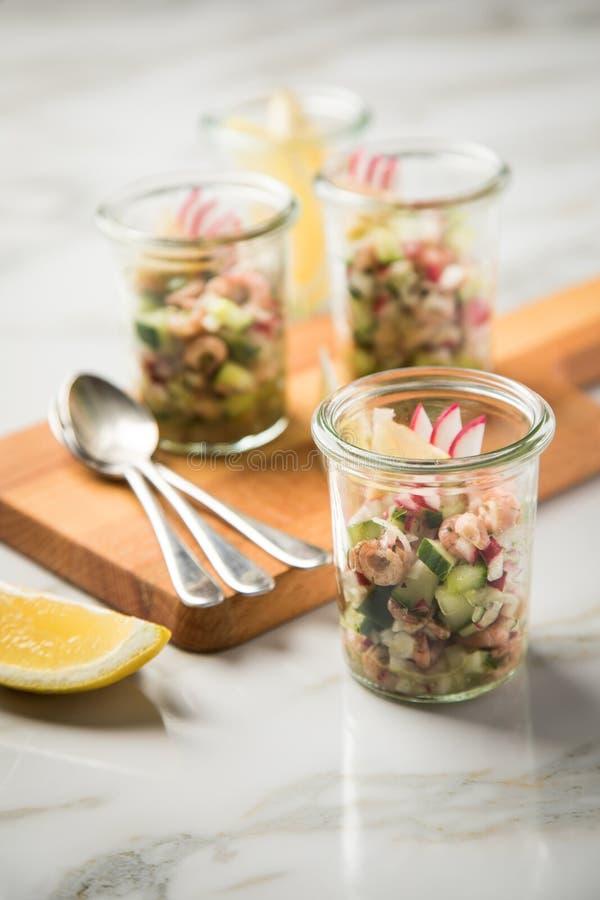 De Duitse salade van de Noordzee bruine garnalen van Friesland in glasmok met komkommer, rode radijs, dille en citroen op houten  stock fotografie