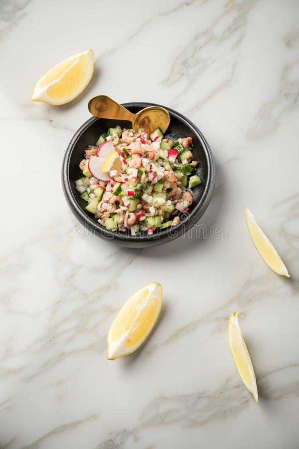 De Duitse salade van de Noordzee bruine garnalen van Friesland in kom met komkommer, rode radijs, dille en citroen op marmeren li royalty-vrije stock foto