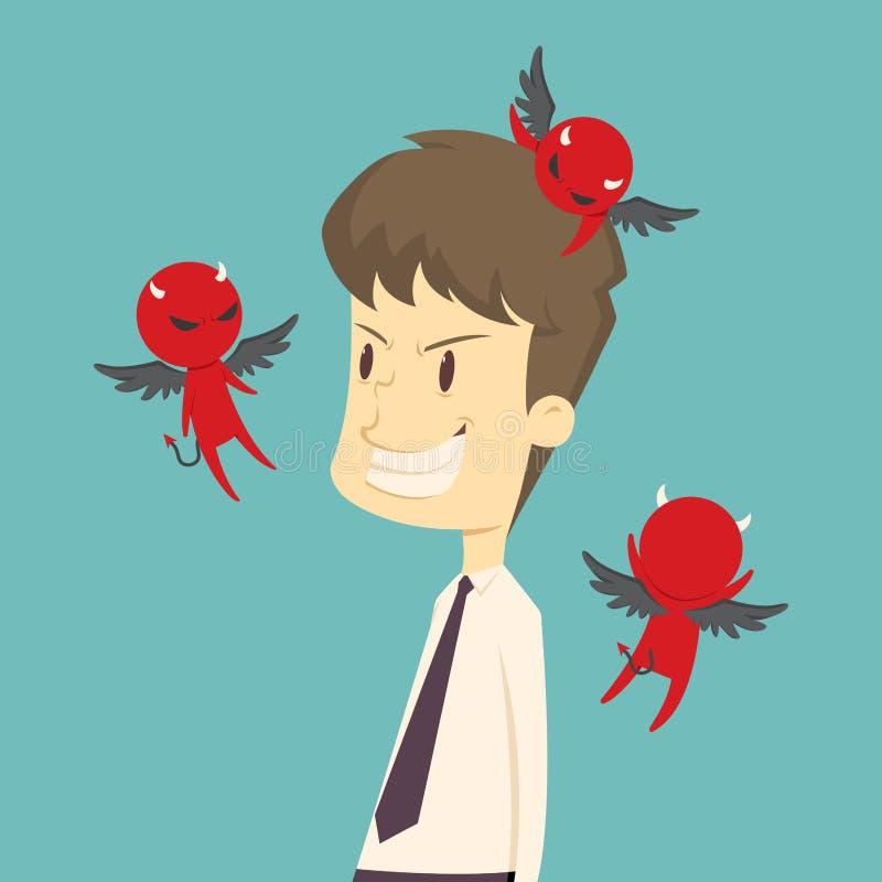 De duivel fluistert een ontworpen zakenman, roddel beeldverhaal van busin stock illustratie