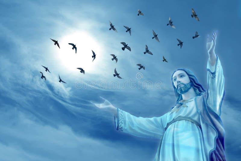 De duiven droegen de zielen van overleden mensen aan hemel royalty-vrije stock fotografie