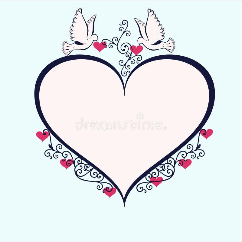 De duiven met heartshaped kader vector illustratie