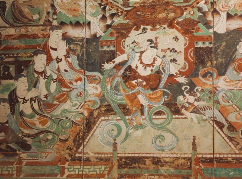 De Dunhuang frescoesna är ädelstenar av forntida kinesisk konst royaltyfri bild