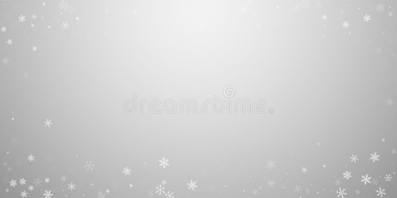 De dunne achtergrond van sneeuwvalkerstmis Subtiele vliegende sneeuwvlokken en sterren op lichtgrijze achtergrond vector illustratie