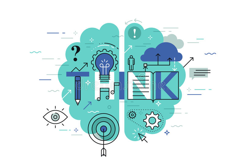 De dunne banner van het lijn vlakke ontwerp voor denkt Web-pagina, het leren, kennis, innovatie, creativiteit, oplossingen royalty-vrije illustratie