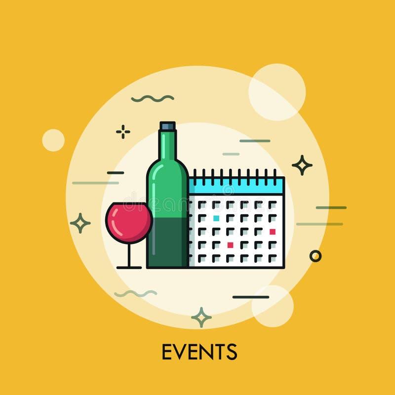 De dunne banner van het lijn vlakke ontwerp voor gebeurtenissenWeb-pagina vector illustratie