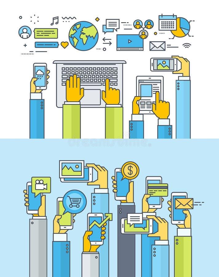 De dunne concepten van het lijn vlakke ontwerp voor Web en mobiele apps en de diensten royalty-vrije illustratie