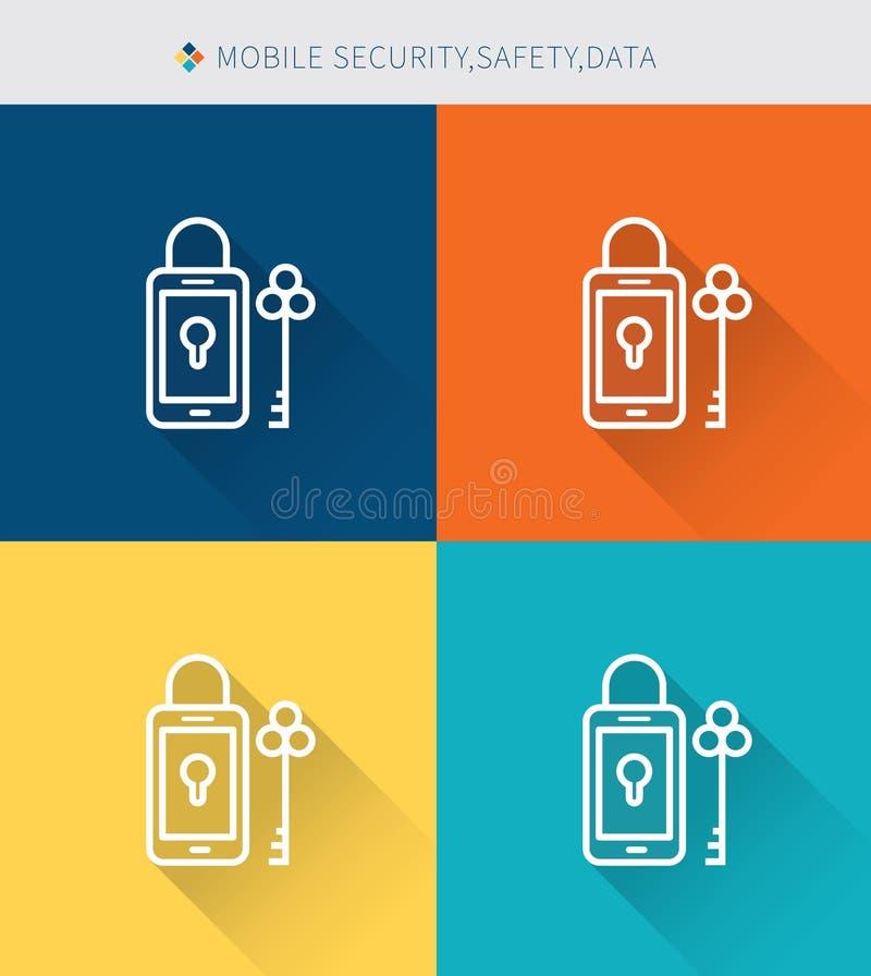 De dunne dunne reeks van lijnpictogrammen mobiele veiligheid & gegevens, moderne eenvoudige stijl stock illustratie