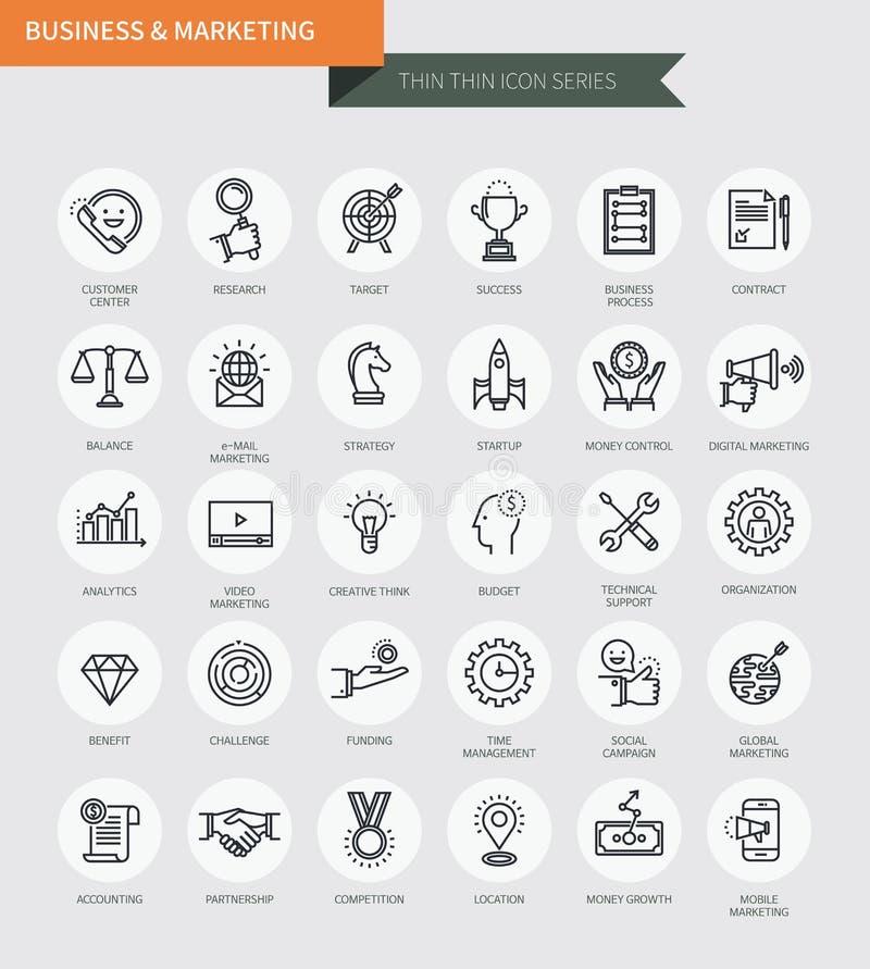 De dunne dunne reeks van lijnpictogrammen van zaken & marketing, moderne eenvoudige stijl royalty-vrije illustratie