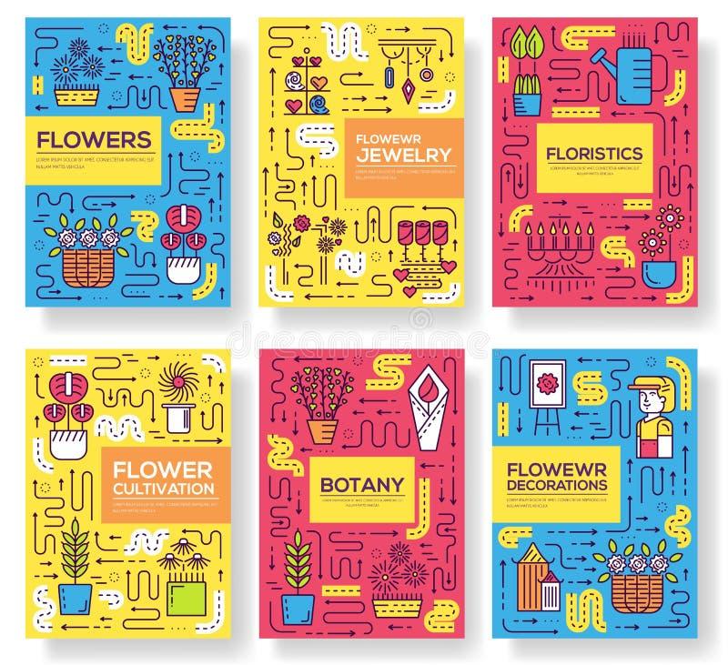De dunne geplaatste kaarten van de de decorateur bevindende brochure van de lijnvrouw Werkend in het mooie malplaatje van de bloe royalty-vrije illustratie