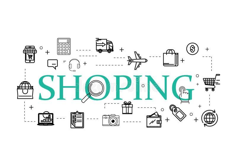 De dunne geplaatste pictogrammen van het lijnenweb - Elektronische handel, het winkelen royalty-vrije illustratie