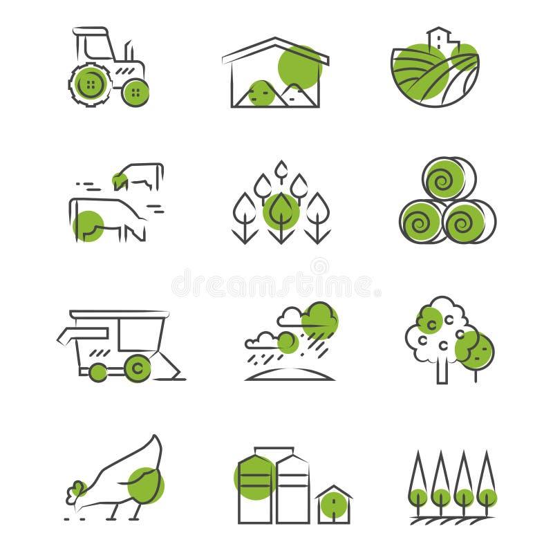 De dunne geplaatste pictogrammen van het lijnlandbouwbedrijf vector illustratie