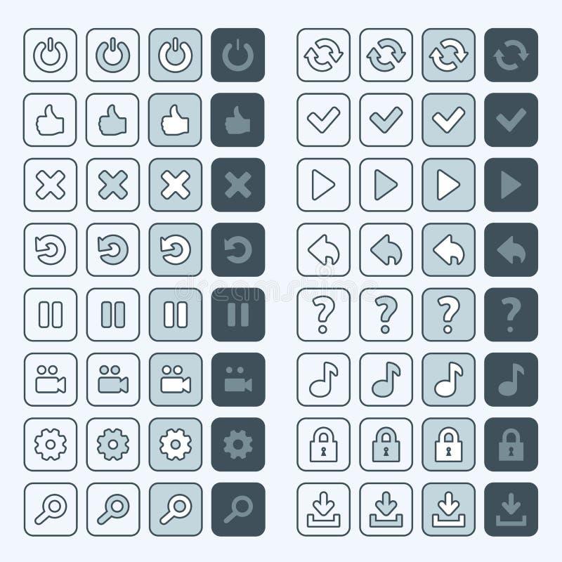 De dunne interface van de pictogrammenknopen van het lijnspel, ui royalty-vrije illustratie