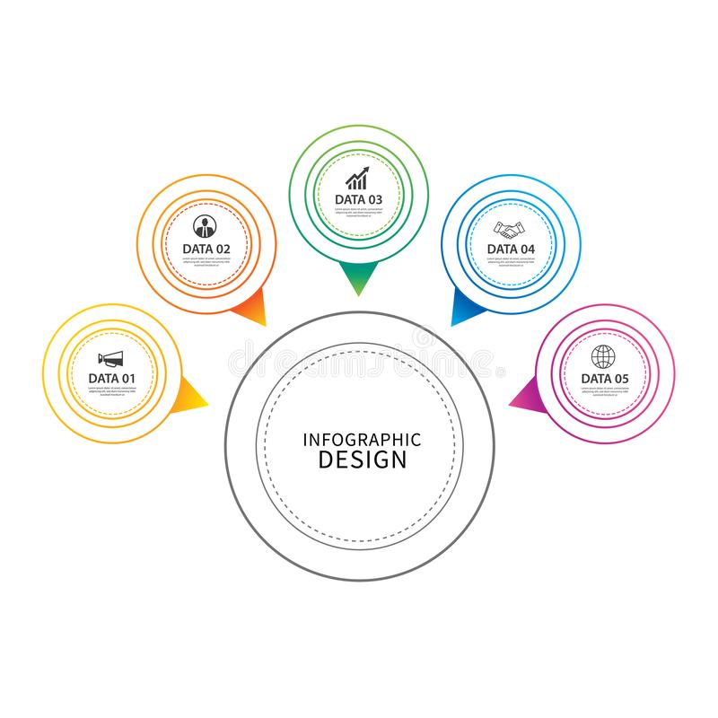 De dunne lijn van de Infographicscirkel met 5 gegevensmalplaatje Vectorillus stock illustratie