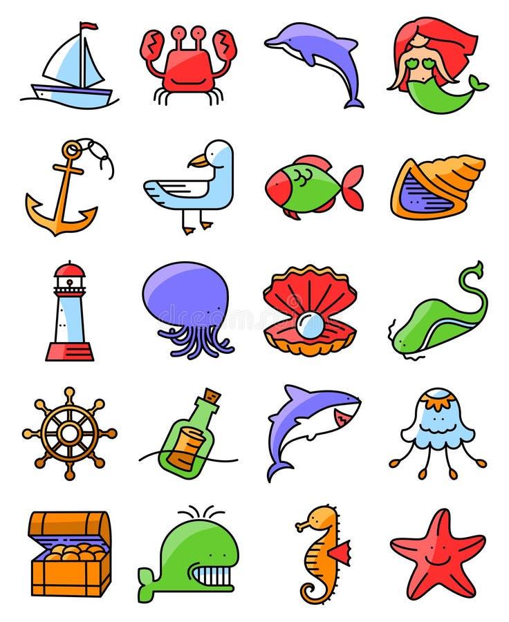 De dunne mariene en zeevaart geplaatste pictogrammen van de lijnstijl royalty-vrije illustratie